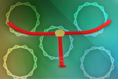3d arrows in to different direction illustration Royalty Free Stock Image