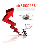 3D arrows up to success. Vector  business concepts with icons. can use for info-graphic. loop business report or plan. modern template. education template Stock Image