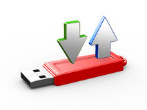 3d arrows on usb flash drive Royalty Free Stock Photo