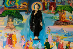 3D art of buddha. Painting the legendary of buddha in 3D style in Myanmar temple Stock Photography