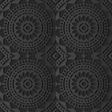 3D art de papier foncé Dot Line Frame Flower croisé rond Images libres de droits