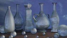 3d art illustration of blue glass jar vase and ball composition stock photography