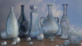 3d art illustration of blue glass jar vase and ball composition royalty free stock photo