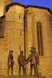 d'Artagnan和三个步兵雕象  图库摄影