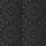 3D arte di carta scura Dot Line Frame Flower trasversale rotondo royalty illustrazione gratis