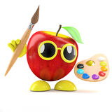 3d Artist apple. 3d render of an apple with art equipment Royalty Free Stock Photography