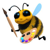 3d Artist bee. 3d render of a bee with a brush and pallete Royalty Free Stock Photo