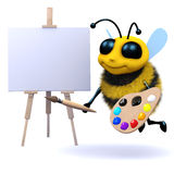 3d Artist bee. 3d render of a bee painting a picture Stock Photography