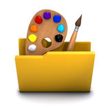 3d Artist folder icon. 3d render of a folder containing art tools Royalty Free Stock Photos