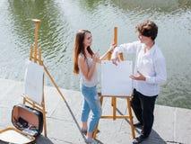 D'artiste toujours concept de ville de peinture de la vie Photos stock