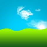 2d artistiek gebied van groene gras en hemel Stock Foto's