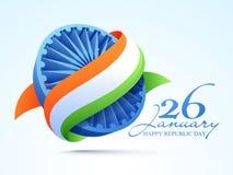 3D Ashoka Wheel for Indian Republic Day celebration. Stock Photo