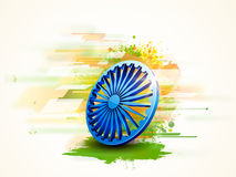 3D Ashoka Wheel for Indian Republic Day celebration. 3D Ashoka Wheel on national flag colors abstract background for Indian Republic Day celebration Stock Image