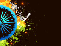3D Ashoka Wheel for Republic Day celebration. 3D glossy Ashoka Wheel on National Colour Splash Background for Indian Republic Day celebration Royalty Free Stock Photography