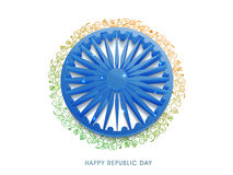 3D Ashoka Wheel for Republic Day celebration. Shiny 3D Ashoka Wheel with saffron and green color floral design decoration for Indian Republic Day celebration Stock Photos