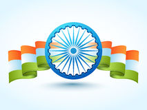 3D Ashoka Wheel with wavy National Flag for Republic Day. 3D Ashoka Wheel with wavy National Flag for Indian Republic Day celebration Stock Images