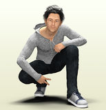 3d Asian guy. 3d render of a young East Asian man Royalty Free Stock Photography