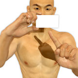 3d Asian man holding a blank card looking excited Royalty Free Stock Photography