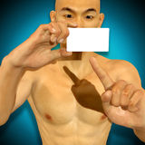 3d Asian man holding a blank card looking excited Stock Photography