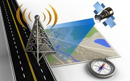 3d asphalt road. 3d illustration of map with antenna and compass Royalty Free Stock Photo