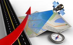 3d asphalt road. 3d illustration of city map with red arrow Royalty Free Stock Images