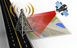 3d asphalt road. 3d illustration of map with antenna and Stock Photography