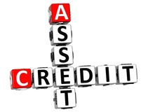 3D Asset Credit Crossword text Royalty Free Stock Photo