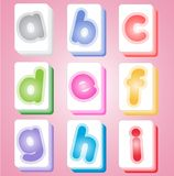 Mahjong color cards alphabet abc. Royalty Free Stock Images