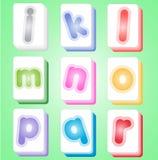 Mahjong color cards alphabet abc j-r. Stock Photos