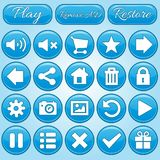Set of round and rectangle buttons blue set. 2d asset for user interface GUI in mobile application or casual video game. Vector for web or game design Stock Illustration