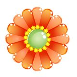 Flower color orange glossy jelly icon. Stock Photography