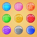 Buttons round glossy jelly in different color. 2d asset for user interface GUI in mobile application or casual video game. Vector for web or game design Royalty Free Stock Images