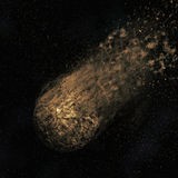 3D asteroid flying through a night sky. 3D render of an asteroid flying though a night sky Royalty Free Stock Photos