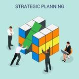 3d astratto cuba il modello infographic della disposizione degli elementi di progettazione della parete per pianificazione o la p illustrazione vettoriale