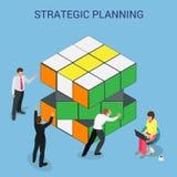 3d astratto cuba il modello infographic della disposizione degli elementi di progettazione della parete per pianificazione o la p Fotografie Stock
