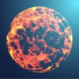 3d astratto Mesh Sphere distorto Illuminated Segno al neon Tecnologia futuristica HUD Element Elegante distrutto B Fotografie Stock Libere da Diritti