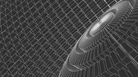 3d astratto Mesh Sphere distorto Illuminated Segno al neon Tecnologia futuristica HUD Element Elegante distrutto grande Fotografie Stock