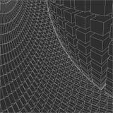 3d astratto Mesh Sphere distorto Illuminated Segno al neon Tecnologia futuristica HUD Element Elegante distrutto grande Fotografia Stock