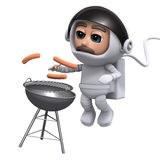 3d Astronaut barbeque. 3d render of an astronaut cooking a bbq royalty free illustration