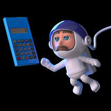 3d Astronaut calculates his trajectory Royalty Free Stock Photos