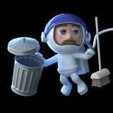 3d Astronaut cleans up space. 3d render of an astronaut with a trash can and broom Stock Photo
