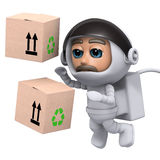 3d Astronaut delivers boxes in space Royalty Free Stock Photo