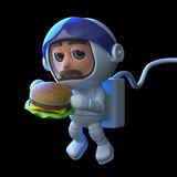 3d Astronaut eats a burger in space Stock Image