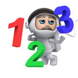 3d Astronaut floating with numbers. 3d render of an astronaut floating with numbers Royalty Free Stock Photo