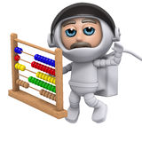 3d Astronaut floating with numbers. 3d render of an astronaut floating with numbers Stock Photo