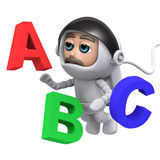 3d Astronaut floating with numbers. 3d render of an astronaut floating with numbers Royalty Free Stock Photography
