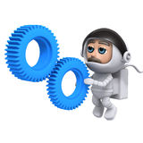 3d Astronaut gears. 3d render of an astronaut looking at cogs Stock Photography
