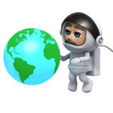 3d Astronaut with globe of the Earth. 3d render of an astronaut with a globe of the Earth Royalty Free Stock Image