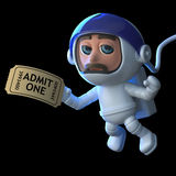 3d Astronaut hands in his ticket. 3d render of an astronaut floating in space holding a movie ticket Stock Images