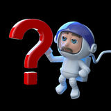 3d Astronaut has a question. 3d render of an astronaut with a question mark symbol Stock Image